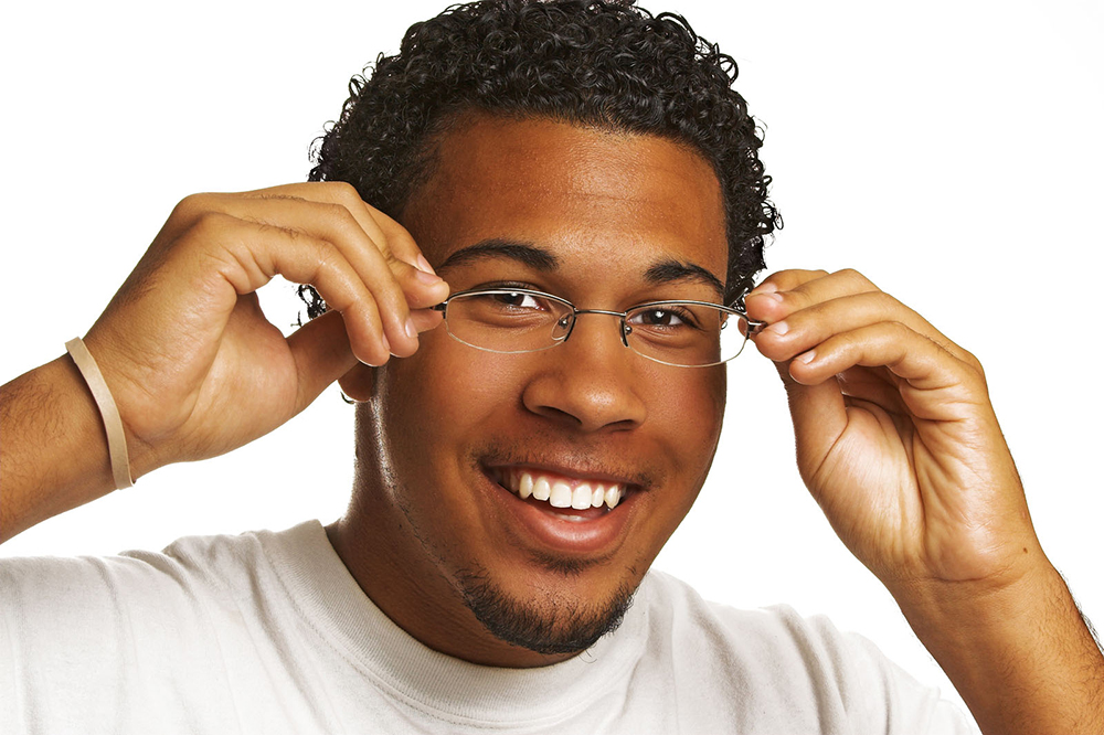 man wearing new glasses