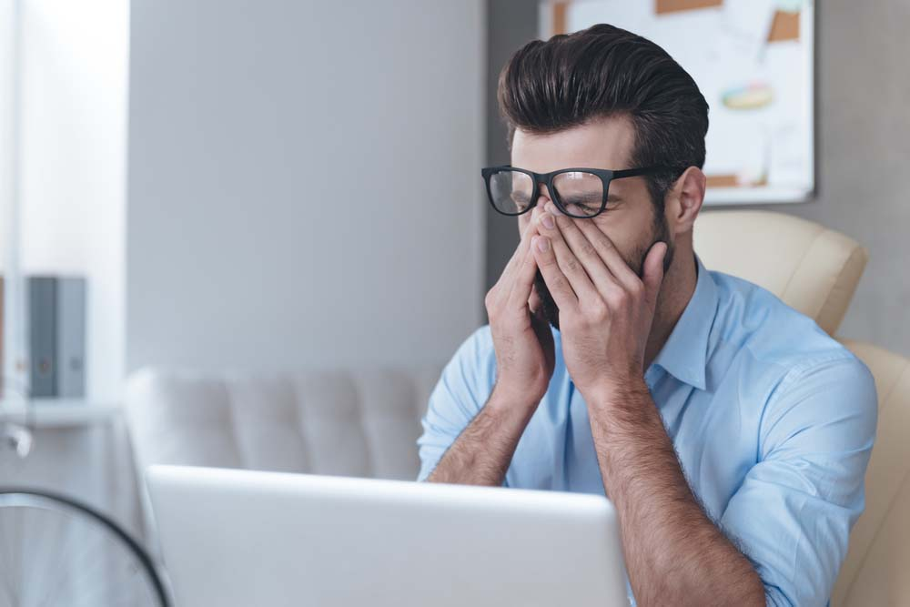 Man suffering from computer vision